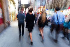 Picture of people on the move in New York City in motion blur Stock Photo