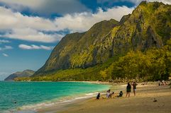 Waimanalo Beach Oahu  Hawaii. This is a picture of people relaxing on  Waimanalo Beach Oahu  Hawaii, 2014 Royalty Free Stock Photo