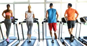 Picture of people running on treadmill in gym Stock Photos