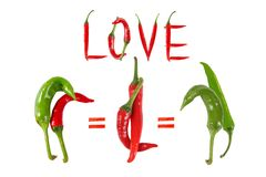 Picture of the peppers, as an illustration of different sexes an Stock Photography