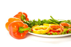 Picture of peppers with palte of parsley Stock Photo