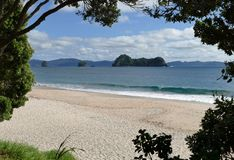 A beautiful beach at Hahei town, New Zealand stock images