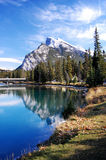 Picture perfect mountain scene in Banff. Perfect mountain scene with reflection and trees photographed in Banff, in the Canadian Rockies Stock Photo