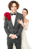 Picture perfect newly weds Royalty Free Stock Images