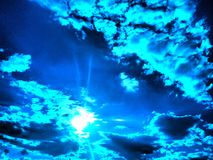 Picture Perfect skies. Gorgeous clouds sky white silver blue filter radiant magical Royalty Free Stock Image