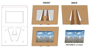 Picture photo paper frame stand die-cut mock-up royalty free illustration