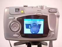 Picture in Picture 3. Old 35mm camera in the viewscreen of a new digital camerra stock photos