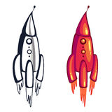 Picture pink rocket. Pink cartoon rocket flying and contour Royalty Free Stock Photos