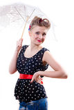 Picture of a pinup young giri under lace umbrella Stock Image