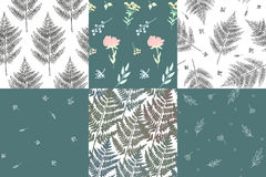 Picture with plants. Collection of beautiful patterns with plants and flowers.  Amenities of nature. Vector illustration Royalty Free Stock Photo