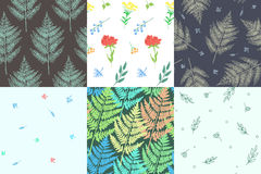 Picture with plants. Collection of beautiful patterns with plants and flowers.  Amenities of nature. Vector illustration Royalty Free Stock Photos