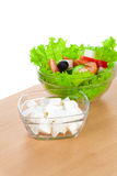 Picture of plates with greek salad and feta Stock Image