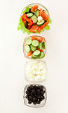 Picture of four plates with vegetables Royalty Free Stock Images