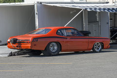 Plymouth duster drag car. Picture of Plymouth duster drag car in display during the john scotti all out 17-19 june 2016 Royalty Free Stock Photo