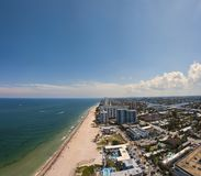 Pompano Beach Drone Shot. Picture of Pompano Beach, FL. on a nice spring day taken with a DJI Mavic Pro. Panaroma Royalty Free Stock Images