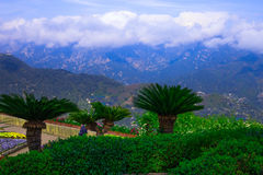 Picture postcard with terrace with flowers in the garden Villas Rufolo in Ravello. Amalfi Coast, Campania, Italy Royalty Free Stock Image