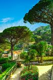 Picture postcard with terrace with flowers and trees in the garden Villas Rufolo in Ravello. Amalfi Coast Campania Italy Royalty Free Stock Image
