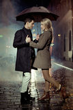 Picture presenting couple during autumn evening Stock Image