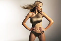 Picture presenting fit blonde girl Stock Image