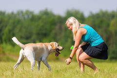 Pretty woman plays with her labrador retriever outdoors Stock Photography