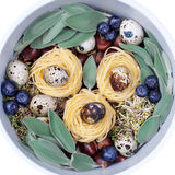 Picture of the products, with spaghetti and quail eggs, creative, concept Royalty Free Stock Images