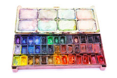 Picture of professional aquarelle paintbox. Over white Stock Photo