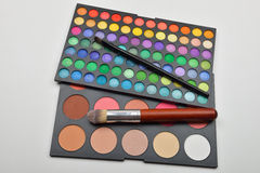 Picture of professional makeup colorful eyeshadow palettes with Royalty Free Stock Image