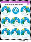 Picture puzzle with cheerful snowmen. Winter, Christmas or New Year themed visual puzzle with snowmen: Can you spot the two identical pictures? Answer included Royalty Free Stock Photography