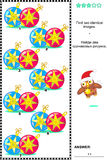 Picture puzzle with christmas baubles - find two identical images Royalty Free Stock Image