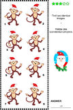 Picture puzzle with christmas monkeys. Christmas or New Year themed visual puzzle: Find two identical images of christmas monkeys. Answer included Royalty Free Stock Photos