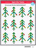 Picture puzzle with decorated christmas trees stock illustration