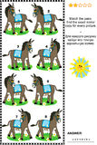 Picture puzzle - find the mirrored copy for every donkey image Royalty Free Stock Photography