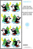 Picture puzzle - find the mirrored copy for every skating penguin image Stock Photography