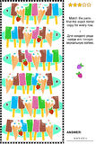 Picture puzzle with ice cream. Visual logic puzzle. Match the pairs. Find the exact mirror copy for every row. Answer included Royalty Free Stock Photos