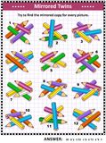 Picture puzzle with mirrored images of colored pencils. IQ training visual puzzle with colored pencils: Try to find mirrored copy for every picture. Answer Royalty Free Stock Photos
