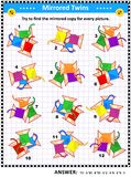 Picture puzzle with mirrored images of sewing spools. IQ training visual puzzle with colorful sewing spools suitable both for kids and adults: Try to find the vector illustration