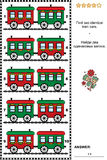 Picture puzzle with red and green retro toy train cars Royalty Free Stock Photos