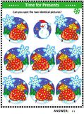 Picture puzzle with Santa`s sack. Winter, Christmas or New Year themed visual puzzle with Santa`s sacks full of toys and presents: Can you spot the two identical Royalty Free Stock Image