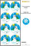 Picture puzzle with snowmen. Winter, Christmas or New Year themed visual puzzle: Find two identical images of snowmen. Answer included royalty free illustration