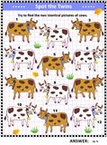 Picture puzzle with spotted milk cows Stock Illustration