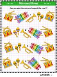 Picture puzzle with toy musical instruments - spot the mirrored row. Visual puzzle with toy musical instruments: Can you spot the mirrored copy of the row 1? stock illustration