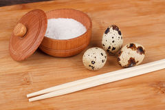 The picture quail eggs Stock Images