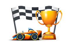 Picture of  race. Illustration of cup formula and flag on white background Royalty Free Stock Photo
