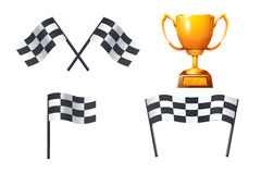 Picture of race. Illustration of gold cup with flags on white background Royalty Free Stock Photos