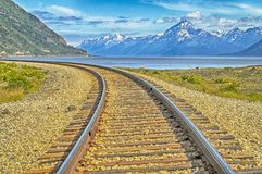 Railroad - Alaska. Picture of railroad tracks. Picture was taken in South Central Alaska on a bright day in Summer stock photos