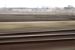 Rails. Picture of rails from the speeding train Royalty Free Stock Photography