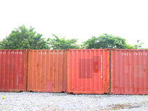 Picture of red open containers in the row. Royalty Free Stock Images