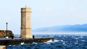 Picture represents the lighthouse while blowing strong wind. Croatia-Senj royalty free stock photography