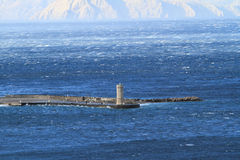 Picture represents the lighthouse while blowing strong wind. Croatia-Senj royalty free stock image