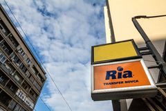 Ria logo on their main exchange office for Belgrade. Ria is an American financial services company specialized in Money transfers. Picture of the Ria Money stock image